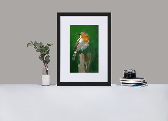Robin Framed Print with Mount