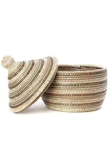 Black, Silver & White Striped Basket [Senegal]
