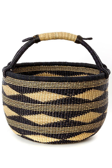 Ghana Black Diamond Handwoven Bolga Basket