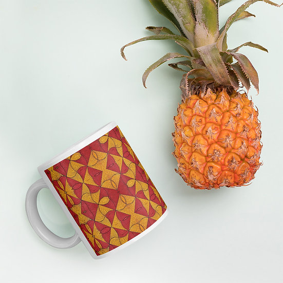 Red and Yellow African Print Mug