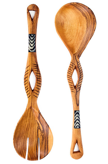 Kenyan Olive Wood Eyelet Servers with Cow Bone Detail