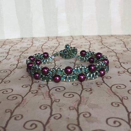Green and Burgundy Bracelet