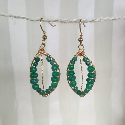 Aventurine Leaf Earrings