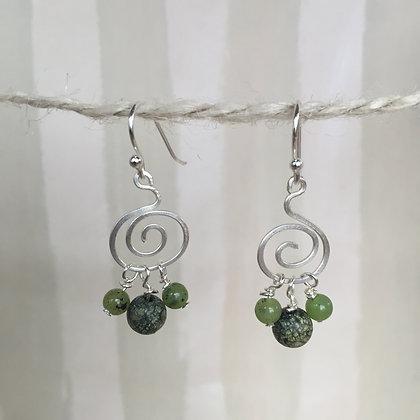 Green Webstone Spiral Earrings