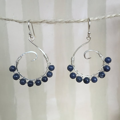 Sapphire Large Spiral Earrings