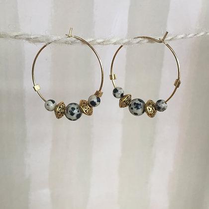 Dalmation Jasper Hoop Earrings