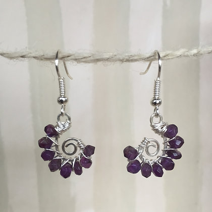 Amethyst Spiral Earrings