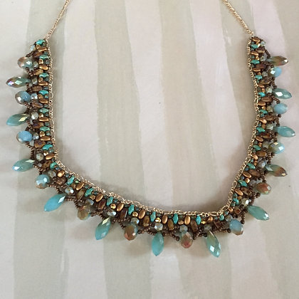 Teal and Gold Crystal Necklace