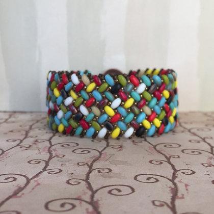 Multicolored Capri Herringbone Bracelet