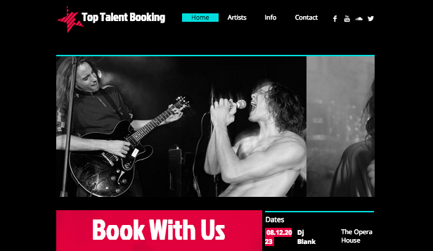 Music Industry website templates – Music Booking Agency