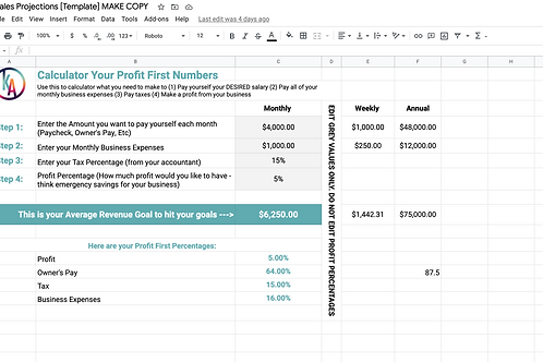 Monthly Sales Projection Sheet (V1)