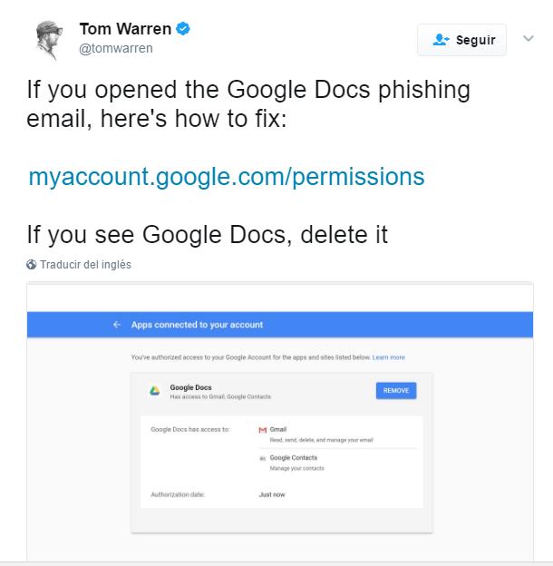 imagen de twitter sobre phishing