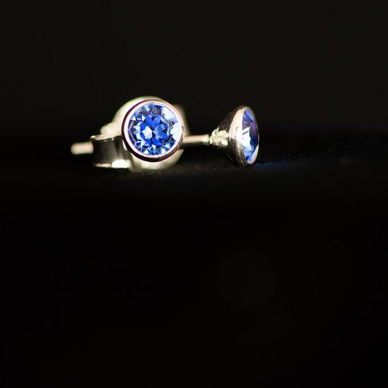 September Birthstone Earrings - Swarovski Crystal - Sapphire