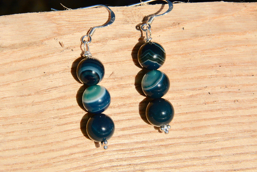 Green Banded Agate - Earrings