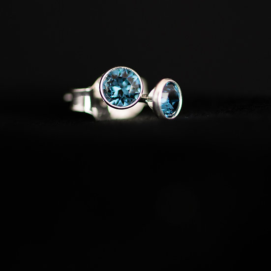 December Birthstone Earrings - Swarovski Crystal - Blue Zircon