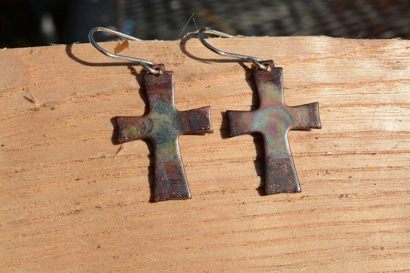 Fire Painted Copper Earrings