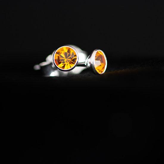 November Birthstone Earrings - Swarovski Crystal - Topaz