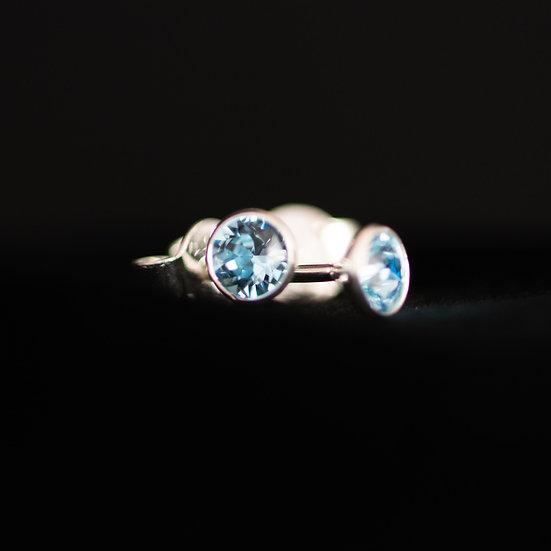 March Birthstone Earrings - Swarovski Crystal - Aquamarine