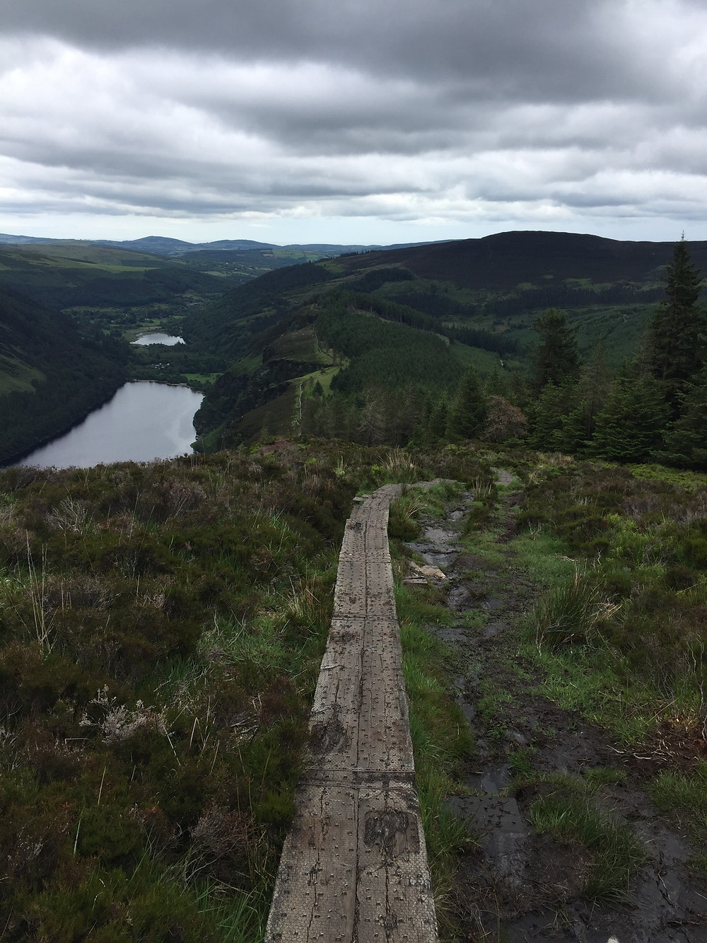 Upper and Lower Lakes of Glendalough, from An Spínc.