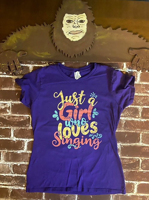 Purple Just a Girl Who Loves to Sing Tee