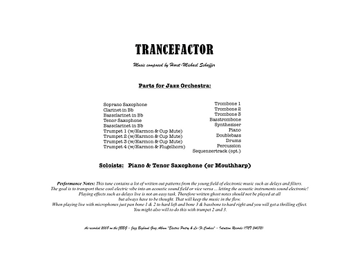 """TRANCEFACTOR"" - Music for Jazzorchestra (Score & Parts)"