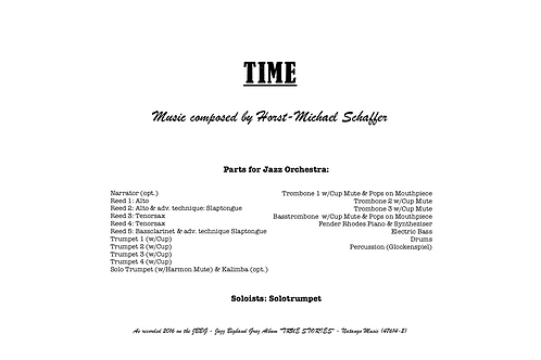 """TIME"" - Music for Jazzorchestra (Score & Parts)"