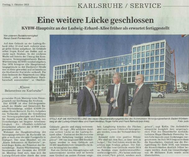 Hauptverwaltungsgebäude des Kommunalen Versorgungsverbands Baden-Württemberg, KVBW vor dem Terminpla
