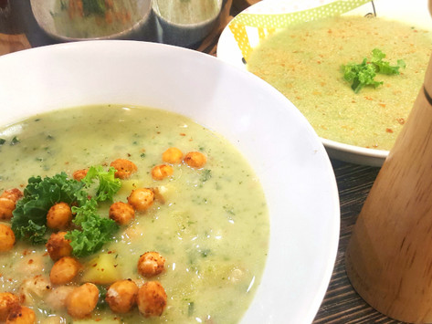 Kadeřávková polévka s pečenou cizrnou
