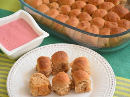 Premium: Celozrnné dukátové buchtičky s jahodovým krémem bez mléka a bez cukru