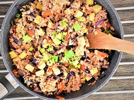 Restovaná natural rýže se zeleninou a tofu