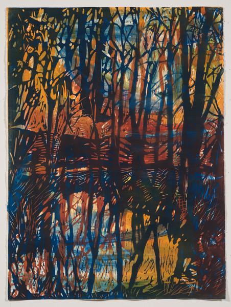 """Late Fall""  30x20 Woodblock Print Mixed Media 2000"