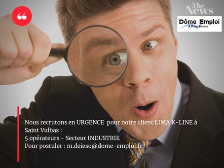 Opérateurs H/F pour notre client LIMA K-LINE à  Saint Vulbas - (Industrie) intérim longue mission