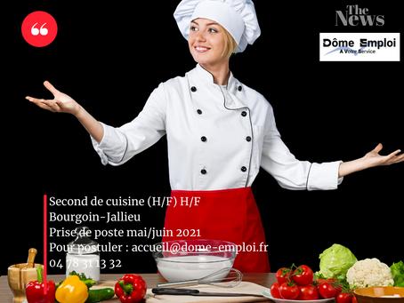 Second de cuisine (H/F) sur le secteur de Bourgoin-Jallieu