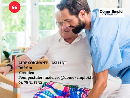 Aide soignant ou ASH pour une EHPAD Crémieu - Intérim URGENT