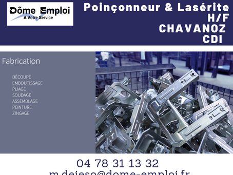 Poinçonneur & lasériste H/F AO 2443 - CDI - Chavanoz