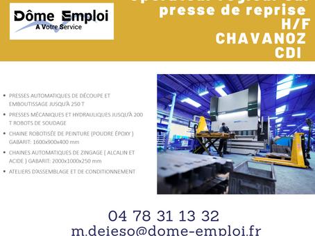 Opérateur régleur sur presse de reprise H/F -  AO-2444  CDI - Chavanoz
