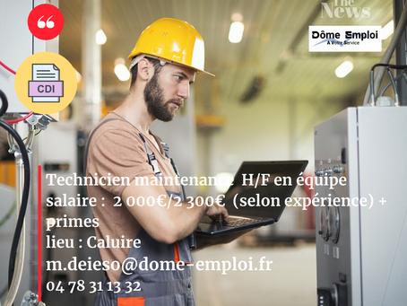 Technicien de Maintenance H/F poste en équipe -  CDI sur Caluire