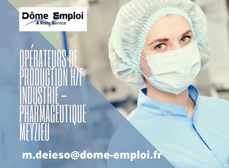 Opérateurs de production H/F Industrie/pharmaceutique Meyzieu