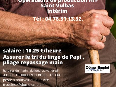 Opérateur de production en blanchisserie industrielle - intérim Saint Vulbas AO 2465