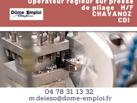 Opérateur régleur sur presse plieuse H/F - AO 2446 - CDI - Chavanoz