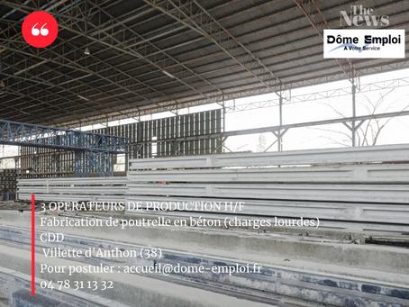 3 OPERATEURS DE PRODUCTION A VILLETTE D'ANTHON (ISERE) - fabrication poutrelle en béton