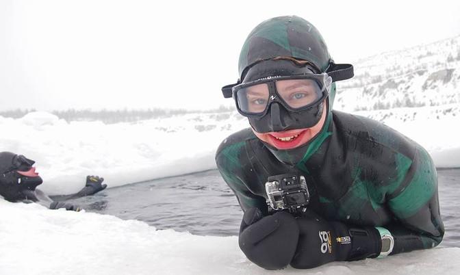 Фридайвинг зимой. Первый раз под лёд.