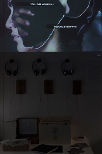 The sound installation and the complimentary motion collage with artwork and quotations created by the participants.