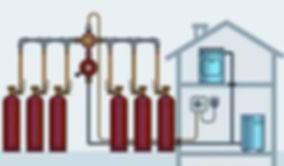 Отопление на сжиженном газе — это использование в качестве источника энергии паров смеси пропана и бутана, отбираемых из газовых баллонов, мобильного или подземного газгольдера.  Стоимость эксплуатации и обслуживания системы отопления частного дома сжиженным газом хоть и выше, чем при работе оборудования на природном газе, но ниже, чем при отоплении дизельным топливом или электричеством.