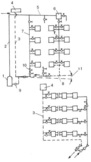 Конструкция любой двухтрубной системы предполагает подачу и отвод теплоносителя от каждого радиатора по двум отдельным магистралям. Упрощенно: входной патрубок батареи подключен к подающему коллектору, выходной – к обратному. По первому трубопроводу нагретая вода из котла раздается всем отопительным приборам, вторая магистраль собирает остывший теплоноситель и направляет обратно в теплогенератор.