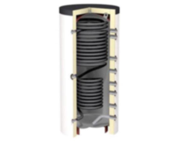 Теплоаккумулятор с функцией ГВС, реализованной по принципу «бак в баке», не единственное возможное решение. «ЭВАН» предлагает приборы, где для приготовления горячей воды используются змеевики. В змеевик ГВС, расположенный внутри бака аккумулятора, подается холодная бытовая вода, которая, проходя по змеевику, также нагревается за счет саккумулированного в баке горячего теплоносителя. Оборудованные змеевиками ГВС теплонакопители могут вырабатывать горячую воду в режиме проточного водонагревателя. По такому принципу сконструированы теплонакопители OVALI, GTV и GTV Teknik. Производительность змеевиков варьируется от 20 до 150 литров в минуту. Под заказ можно установить змеевики разной мощности в разные модели. Чтобы обеспечить высокую мощность и скорость нагрева, модели OVALI и GTV Teknik оборудованы двумя змеевиками, которые могут соединяться последовательно – первый, так называемый змеевик преднагрева, расположен в нижней части бака. Второй – в верхней.  Данный материал взят со страницы: