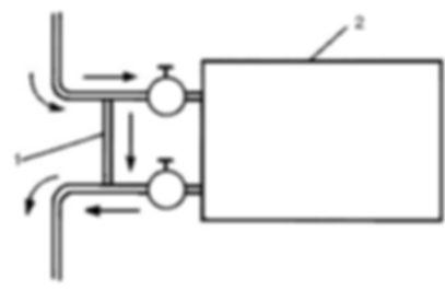 Система называется однотрубной, поскольку нагретая вода подается и уходит из радиаторов отопления по единому коллектору. Трубопровод является общим для всех батарей, подсоединенных к магистральной ветви. То есть, входная и выходная подводка каждого отопительного прибора подключается к одной трубе, как показано на примере схемы теплоснабжения одноэтажного здания.