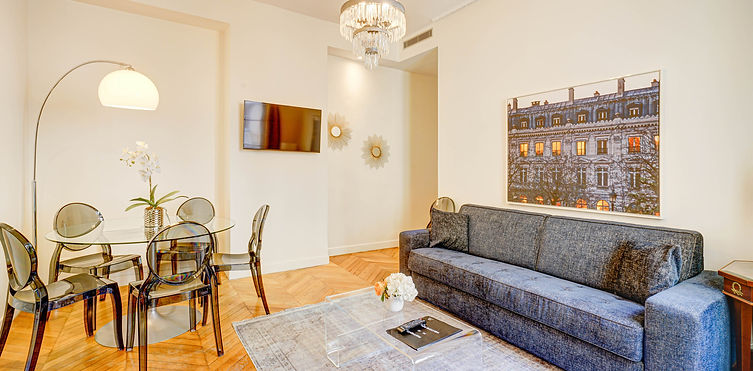 Living Room | Spacious 2 bedroom short term rental | Apartments du Louvre
