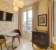 Living Room | Modern serviced studio for short term rental | Apartments du Louvre