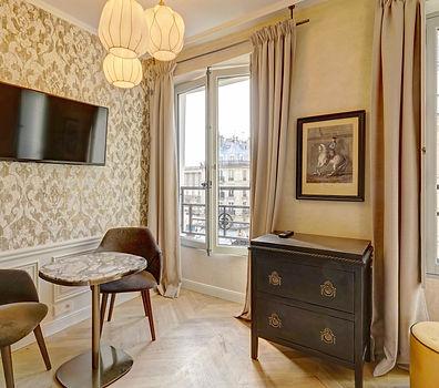Living Room | Modern serviced studio for short term rental | Apartments du Louvre